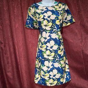 J Crew Blush Blue Cove Floral Short Sleeve Dress